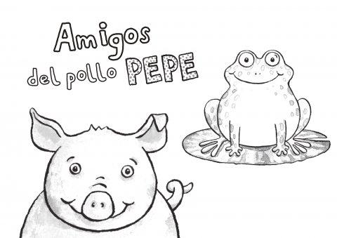 Colorea a los amigos del Pollo Pepe 1